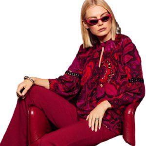 Trina Turk Brinley Bell Vibrant Silk Top - L